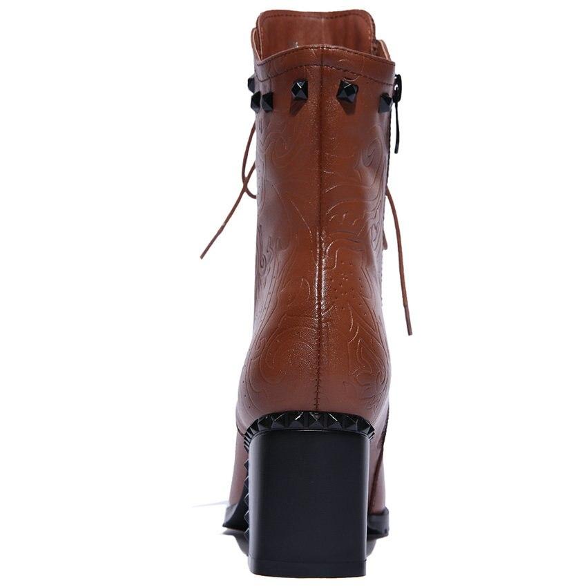 Up Véritable Noir À Chaussures Vinlle Femmes Cheville Talons Dentelle Zipper Vintage Taille Cuir Hauts 11 Carrés Moto Lady Femme En marron Bottes nOq4I