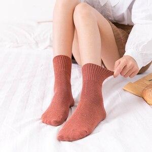 Image 3 - VERIDICAL kobieta skarpetki bawełniane krótkie dobrej jakości biznes Harajuku cukrzycowe puszyste skarpetki Meia skarpetki termiczne mody 5 par/partia