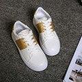 2017 Летняя Мода Белый Дышащий Обувь Круглого Toe Lace Up святого валентина Обувь Платформы Женщин Повседневная Обувь Лоскутное Квартиры