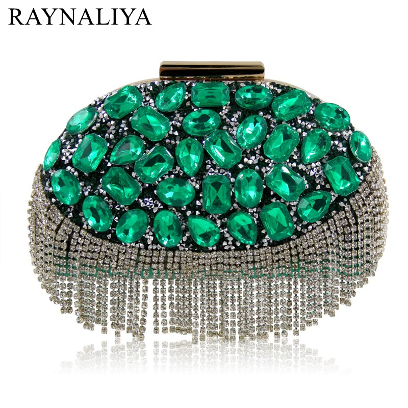 2017 Luxury Beaded Evening Clutch Bags Tassel Ladies Shoulder Chain Bag Wedding Party Purse Evening Bag Day Clutches SMYZH-E0006 luxury knitting cheongsam clutch bag oval plaid evening bag famous brand day clutch chain shoulder messenger bag party purses