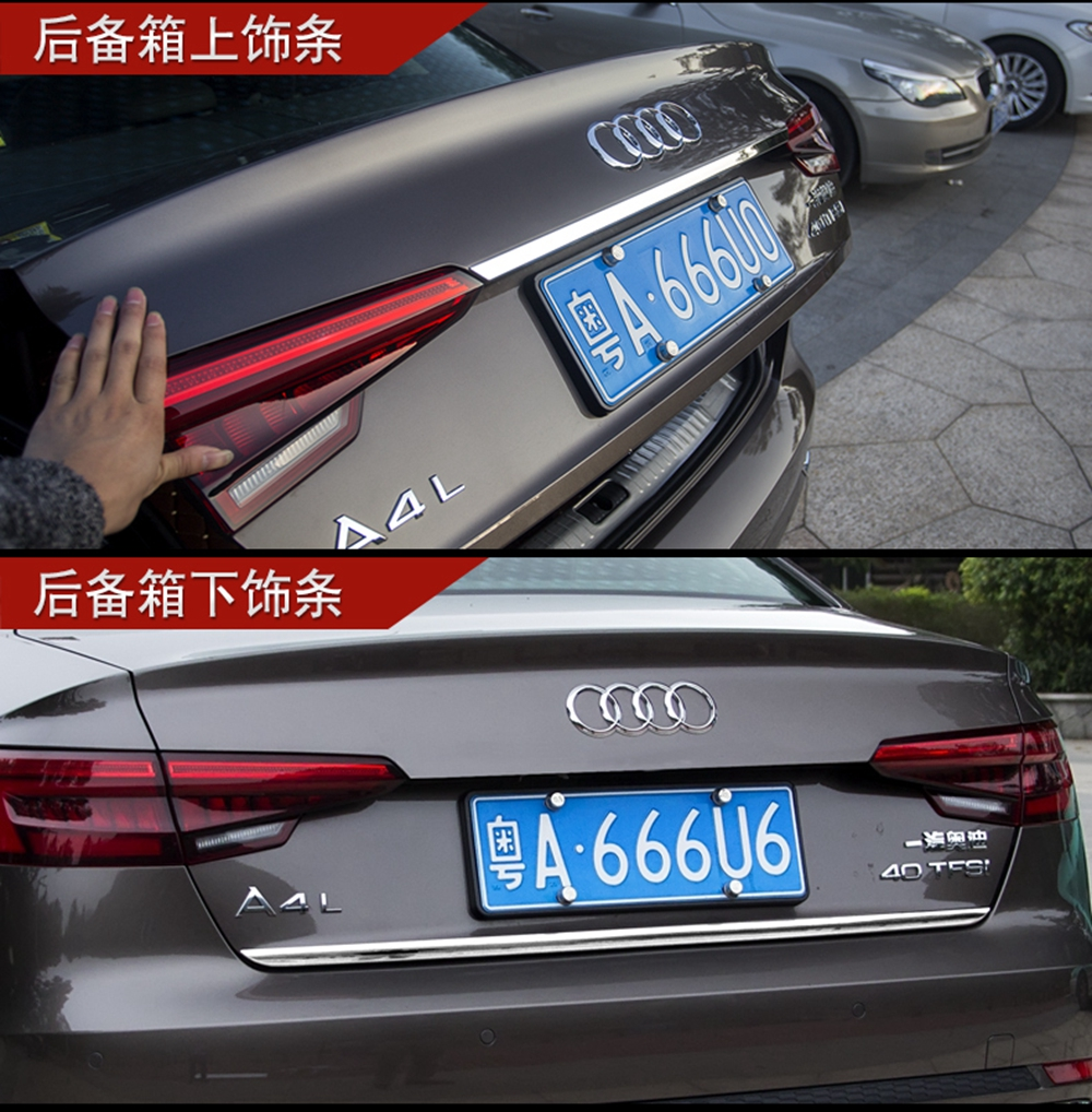 MONTFORD Stainless Steel Rear Trunk Lid Gate Lid Molding Cover Trim Frame stickers Car Styling For Audi A4 B9 2016 2017 1Pcs