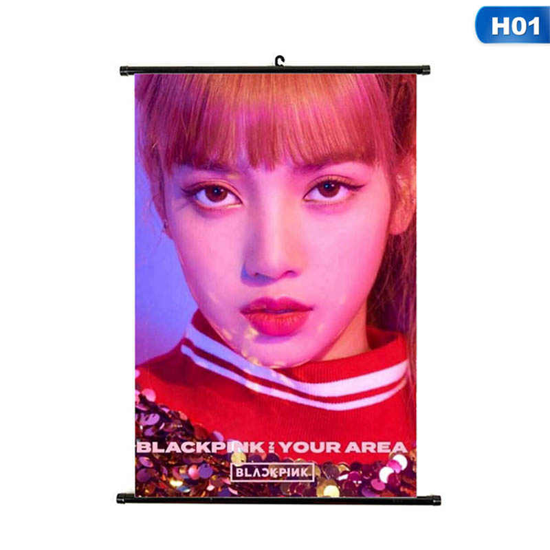 Kpop Blackpink Square Up Album Mini Wall Scroll Poster Jisoo Rose HD Hang up Photo Picture Home Decor