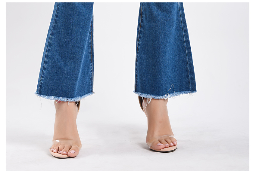 Women\`s dress of Europe and America 2018 new wide leg trousers jeans denim flared trousers women\`s worn-out edge trousers (14)