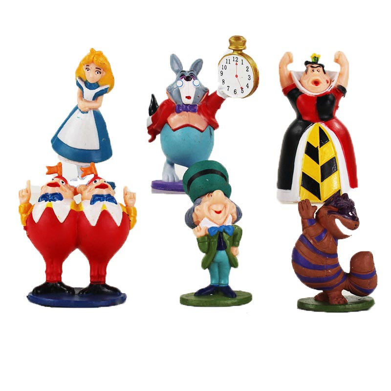 US $4 65 20% OFF|6pcs/lot Figure Queen Of Heart White Rabbit Cheshire Cat  Mad Hatter Tweedle Dee Tweedle Dum Model Toys-in Action & Toy Figures from