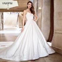 d3844d2877474 VNXIFM Attractive V Neck Ivory Satin Wedding Bridal Dress Court Train With  Beads Transparent Back Fashion