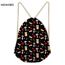 INSTANTARTS Fashion Woman Black Drawstring Bags Cute Cartoon Nurse Printed Female String Backpacks Multi-function Storage Bags