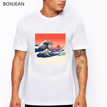 Japanese Ukiyo  Wave Printed tshirts men 2019 Summer tops funny t shirts Hip Hop Casual Short Sleeve Tops Tees T-shirt