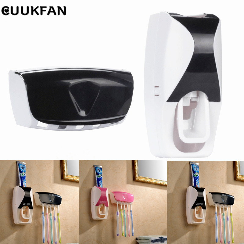 Automatic Toothpaste Dispenser Tooth Paste Squeezer Toothbrush Holder Tooth Brush Stand Bathroom Organizer For Toothbrushes