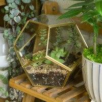 Geometric Iron Flower Vase Terrarium Succulent Plants Planter Pot Brass Balcony Decor Flower Pot