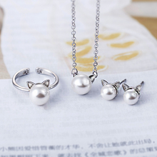 TJP Cute CAT Shaped Women Party Jewelry Sets 925 Silver Necklace  Fashion Female Stud Earring Set Girl Lady Finger Ring Open