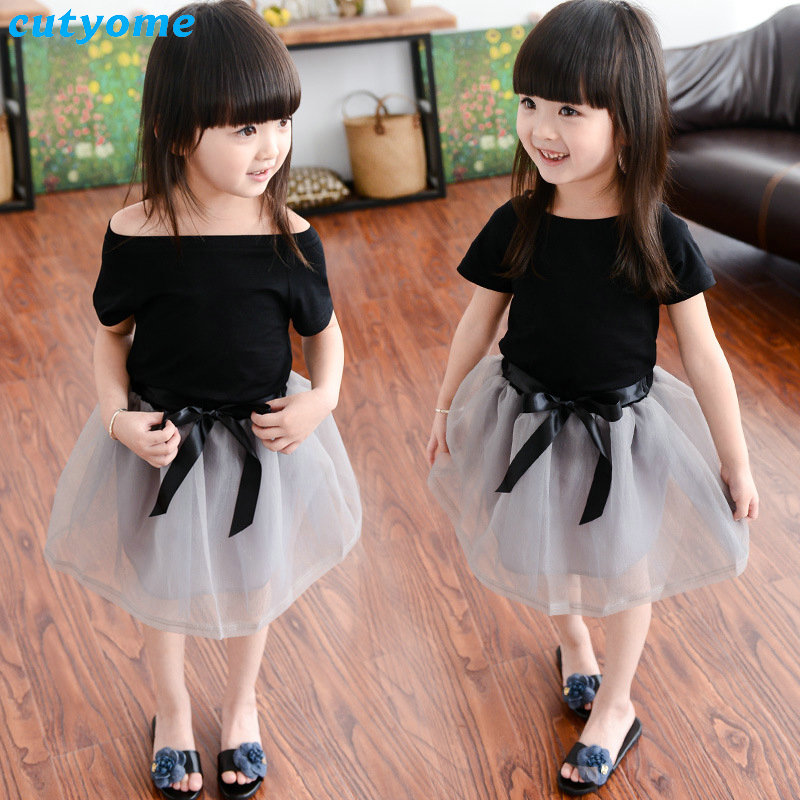 Cutyome Baby Girls Summer Clothes 2pcs Sets Short Sleeve Black