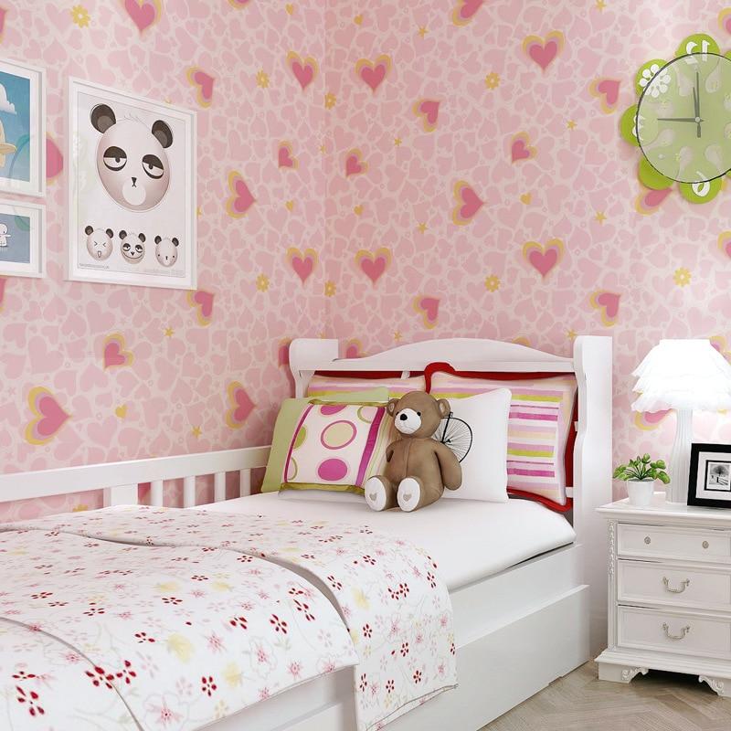 Beibehang papier peint chambre enfant dessin animé amour coeur de pêche papier peint chambre enfant intissé rose papier peint