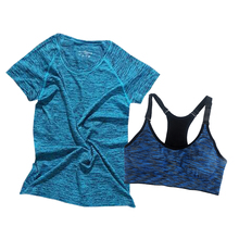Summer Two Pieces Women Yoga Set Space Dyeing Female Fitness Shirts+Padded Push Up Sports Bra Jumpsuit Sexy Running Tights Suits