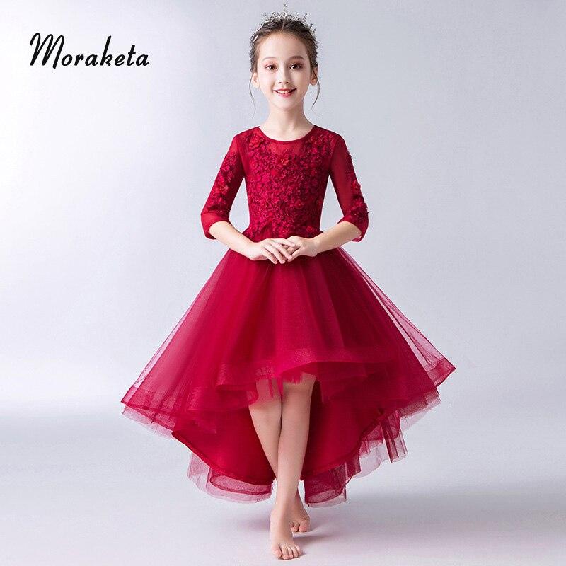 Винно Красные Платья с цветочным узором для девочек на свадьбу; коллекция 2019 года; платья подружки невесты с круглым вырезом и аппликацией с