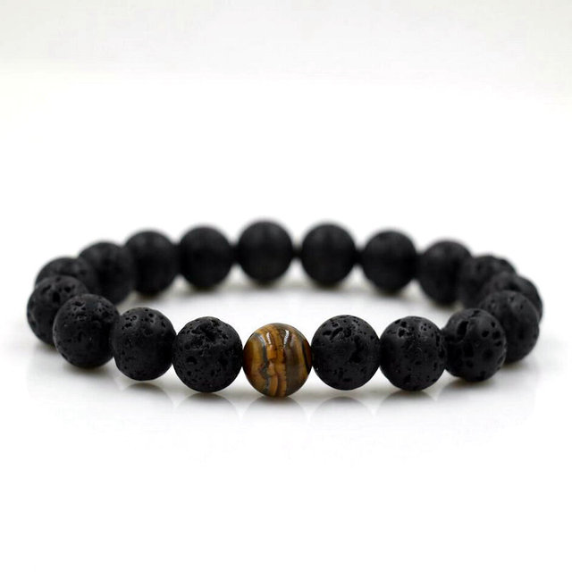 d1bab4e53bd64 US $1.54 30% OFF|BPPCCR 12 Constellation Natural Black Onyx 10mm Lava Tiger  eye Stone Beads Men Bracelet Leo Lovers Energy Strand pulseras-in Strand ...
