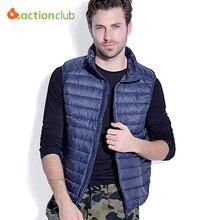 Actionclub homens sem mangas jaqueta de inverno ultra-clara para baixo colete pato branco para baixo do colete homens colete colete dos homens magros