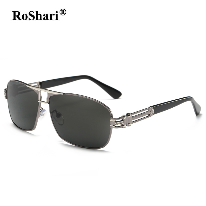 RoShari Men HD Polarized Sunglasses Square Vintage polaroid Sun glasses men Driving Eyewear Accessories font b