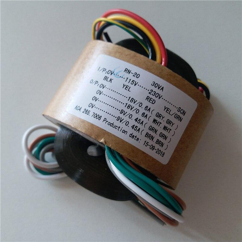18V 0.6A 18V 0.6A 9V 0.45A 9V 0.45A R Core transformer 115-230V input 30VA for amplifier Power supply18V 0.6A 18V 0.6A 9V 0.45A 9V 0.45A R Core transformer 115-230V input 30VA for amplifier Power supply