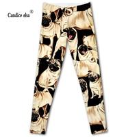 CANDICE ELSA Leggings Women Elastic Sexy Fitness Legging Dog Printed Workout Female Pants Plus Size Wholesale