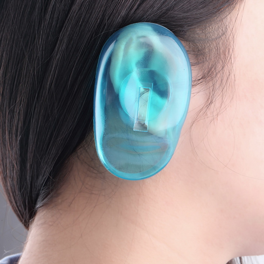NEW 2PCS/pair Clear Silicone Ear Cover Hair Dye Shield Protect Salon Color Blue Top Quality