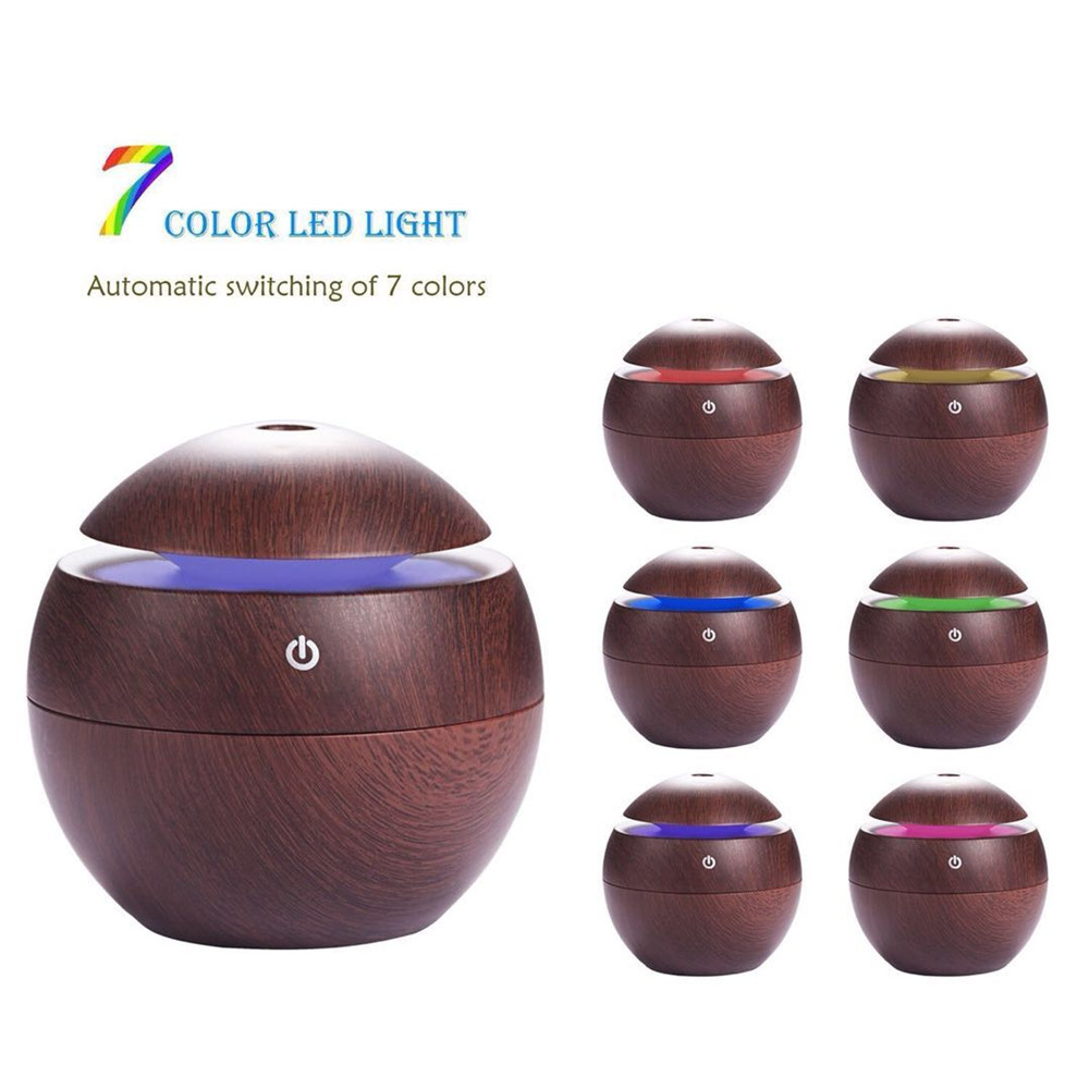 130Ml Aroma Essential Oil Diffuser Ultrasonic Air Humidifier Purifier With Wood Grain LED Lights For Office Home Bedroom