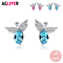 Crystal Earrings 925 Sterling Silver Vintage Cute Angel Women Stud Fashion Charm Jewelry