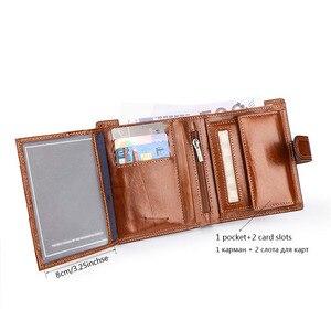 Image 3 - Włoski bydła dekolt prawdziwe prawdziwej SKÓRZANY PORTFEL mężczyźni paszport posiadacz karty kredytowej portmonetki portemonnee Portefeuille Carteras