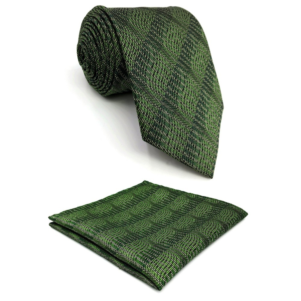 D5 Deep Green Abstract Mens Necktie Silk Fashion Extra long size 63 Novelty Ties for male Dress Hanky