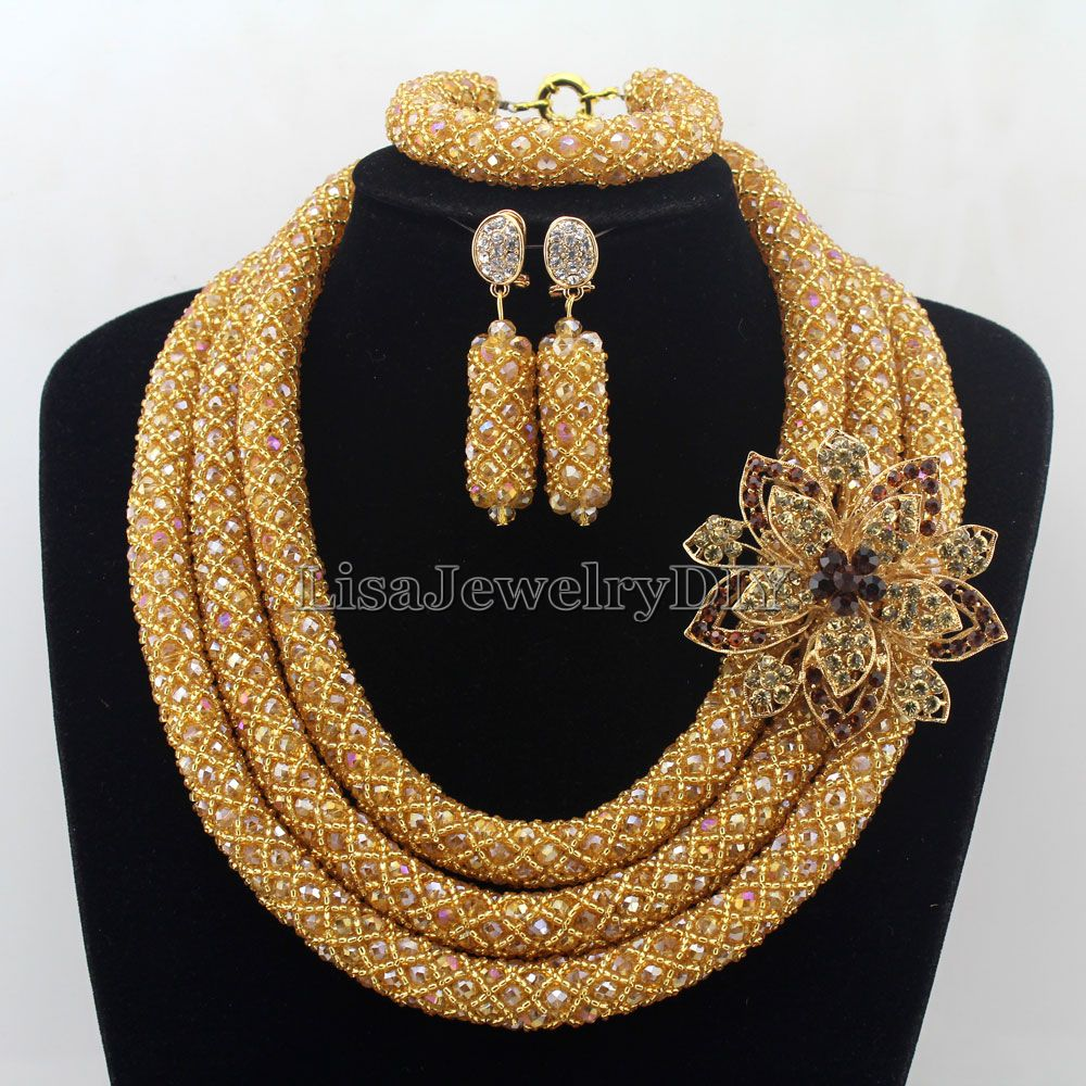 Stylish African Costume Jewelry Set  Champagne Nigerian Wedding African Beads Jewelry Set  Beautiful Flower Free Shipping HD7574Stylish African Costume Jewelry Set  Champagne Nigerian Wedding African Beads Jewelry Set  Beautiful Flower Free Shipping HD7574