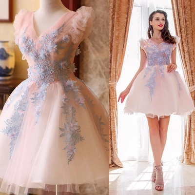 Free ship light pink light sky blue embroidery flowers tutu lovely sleeve short lolita dress