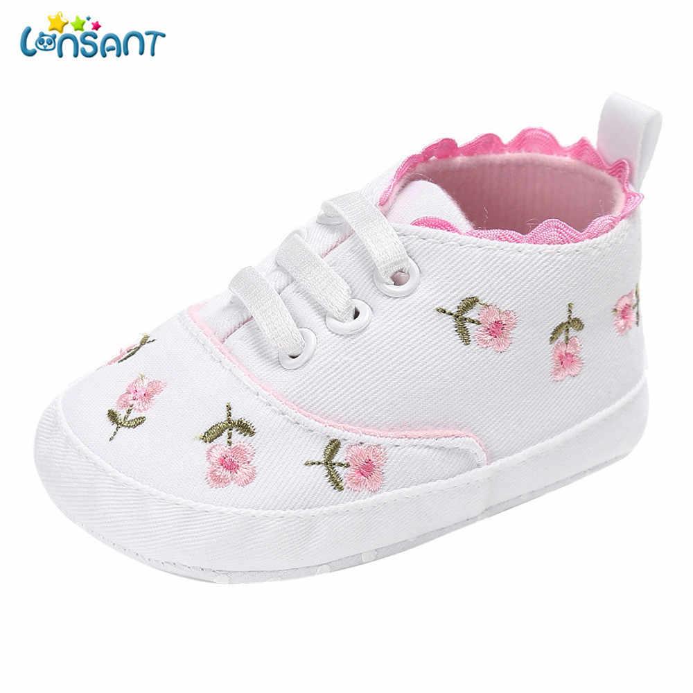 LONSANT جديد 2018 Grils الطفل الوليد الطفل الوليد الرضع طفل الفتيات الأزهار سرير أحذية لينة وحيد المضادة للانزلاق أحذية رياضية قماش