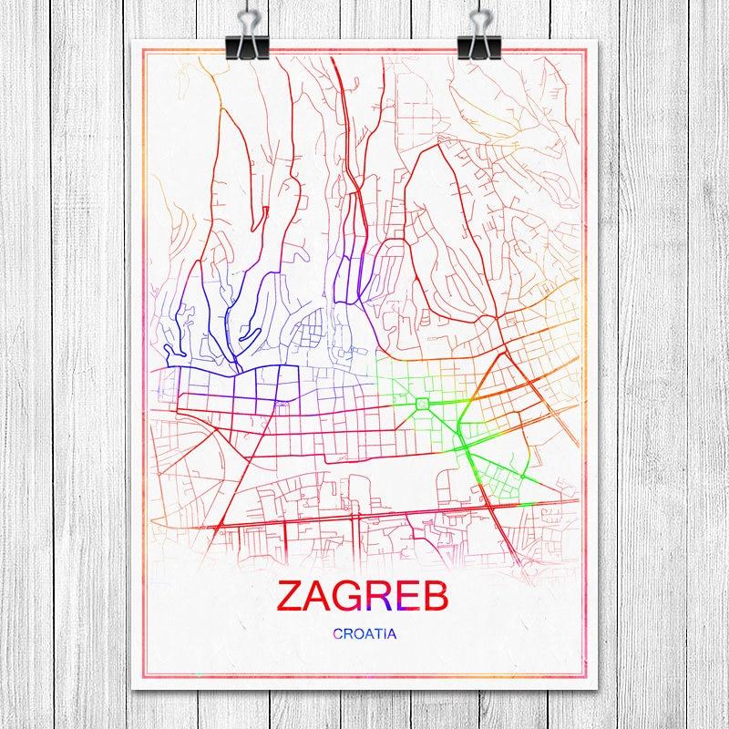 ZAGREB Kroatische Bunte World City Karte Drucken Poster Abstrakt Beschichtetes Papier Bar Cafe Wohnzimmer Dekoration Wandaufkleber