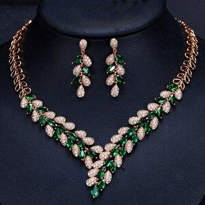 Image 4 - CWWZircons מדהים מעוקב Zirconia אבן דובאי שרשרת עגילי זהב נשים חתונה מסיבת אביזרי T288