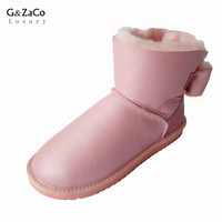 G&Zaco Luxury Brand Sheepskin Boots Sweet Pink Waterproof Ankle Snow Boots Women Winter Sheep Fur Natural Wool Flats Boots