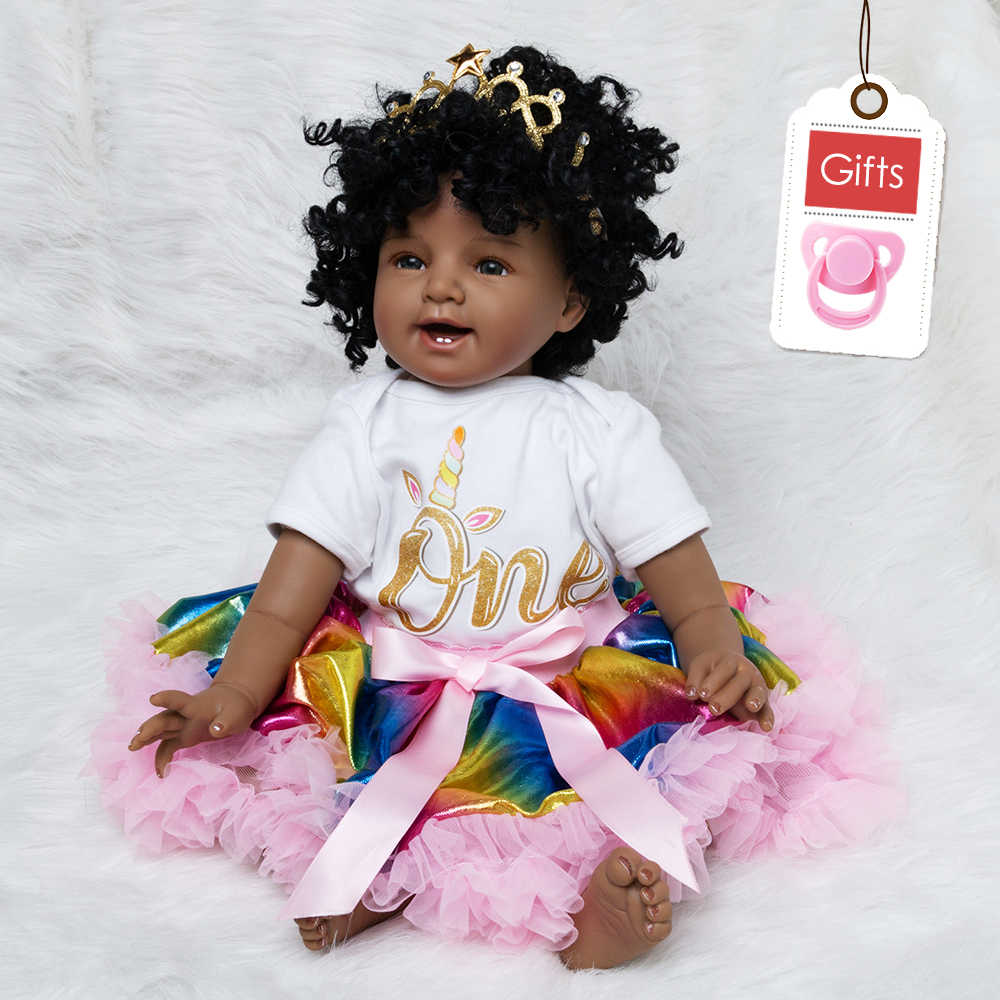 Baby Doll Toy Girl 22 Inches Reborn Vinyl Babies Doll Black For Girls Reborn Dolls Children Toys Special Offer Toy Soft Silicone