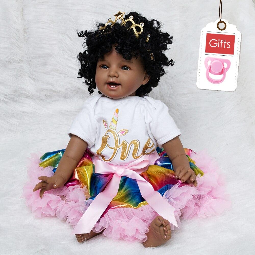 Bébé poupée jouet fille 22 pouces Reborn vinyle bébés poupée noir pour filles Reborn poupées enfants jouets offre spéciale jouet en Silicone souple