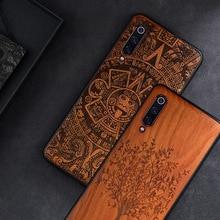 Custom Carved Wood Case For Xiaomi Mi 9 SE Case funda on Xiaomi mi 10 mi 9 8 mi8 lite mix 3 2s Wooden TPU Protective Case