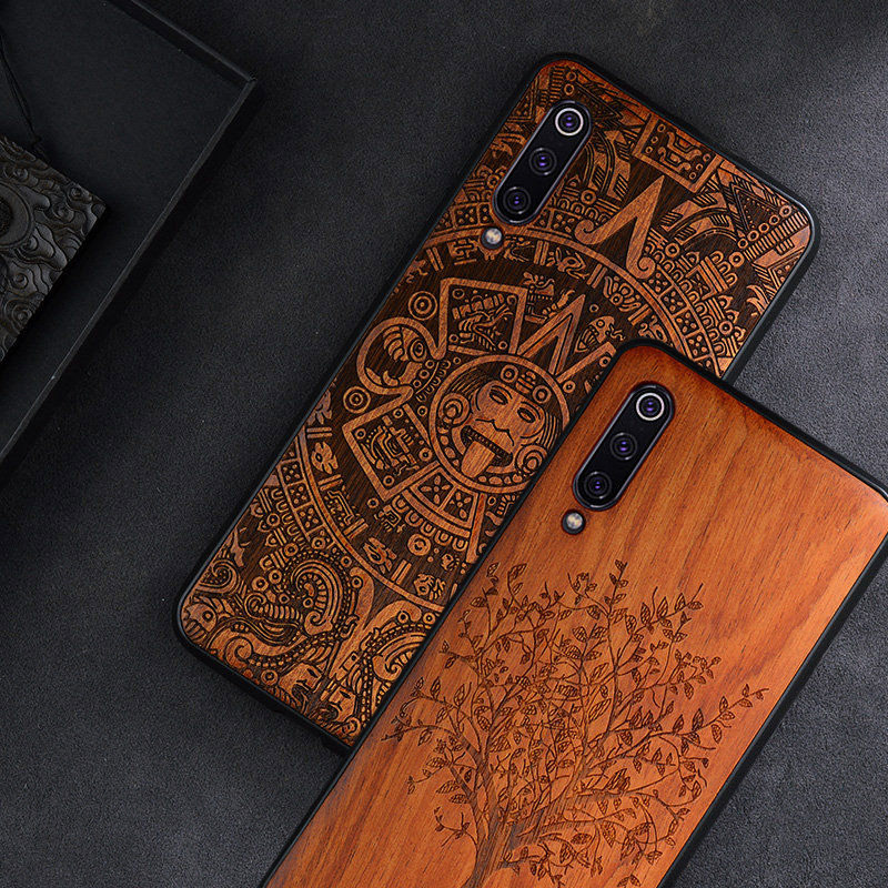 Custom Carved Wood <font><b>Case</b></font> For Xiaomi Mi 9 <font><b>SE</b></font> <font><b>Case</b></font> funda on Xiaomi mi 9 mi 8 <font><b>se</b></font> <font><b>mi8</b></font> lite mix 3 2 2s Wooden TPU Protective <font><b>Case</b></font> image