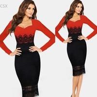 Alishebuy Women Elegant Tunic Wear To Work Business Casual Party Stretch Pencil Sheath Dress Multi Size