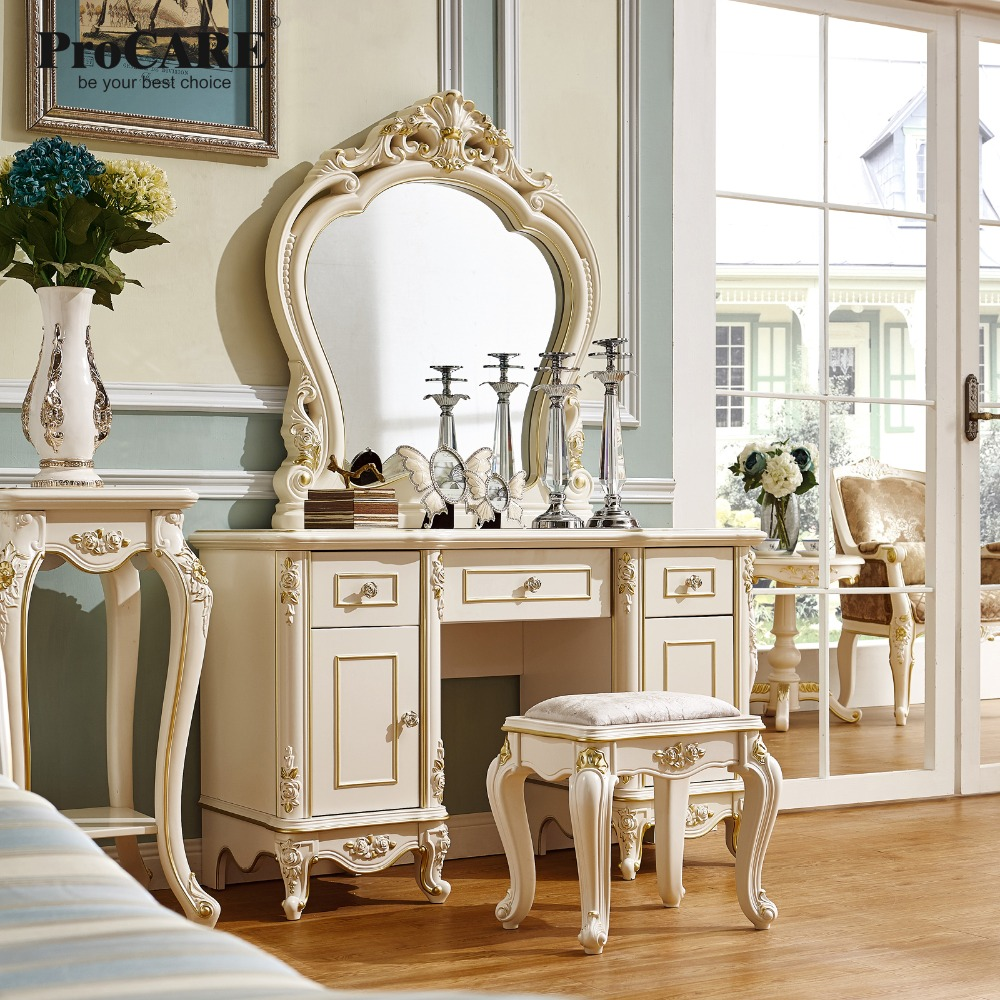 luxury European and American style bedroom furniture french Dressing table with mirror bedroom home furniture dresser table with 2 drawers mirror and stool neoclassical style kd packaged wooden carved materials