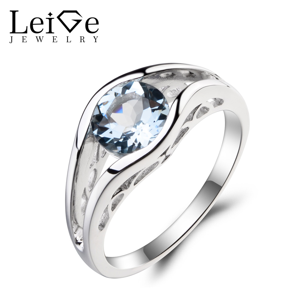 Leige Jewelry Engagement Ring Natural Aquamarine Ring March Birthstone Blue Gemstone Ring Solid 925 Sterling Silver Ring for Her anton hansen tammsaare kooli alma