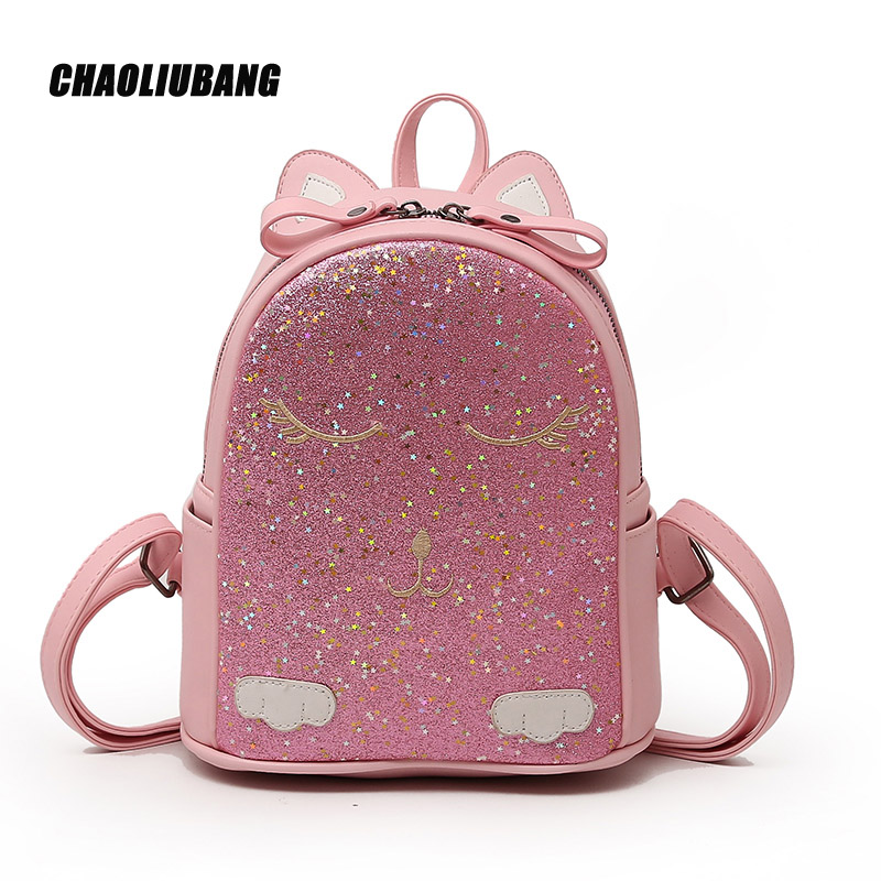Cute Ear Backpack Preppy Style School Backpacks Travel Back Pack Funny Quality Pu Leather Fashion Women Shoulder Bag-5051
