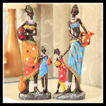 Set of 2, Antique imitation resin african statues mother and baby modern abstract sculpture decorative crafts gift