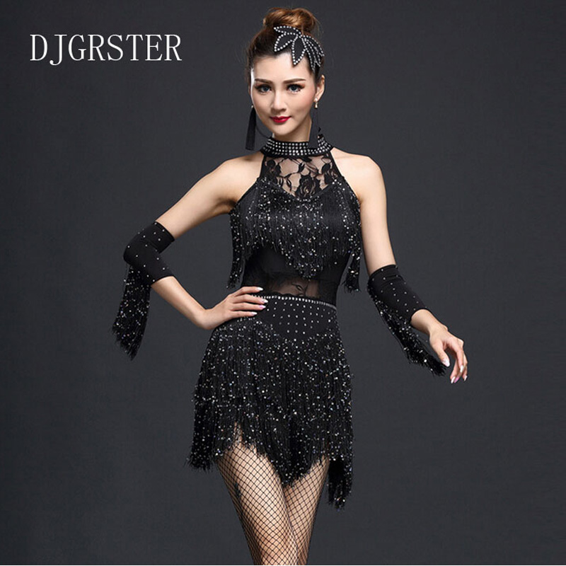 DJGRSTER 2019 New Latin Dance Tassel Skirt Square Latin Dance Costumes Female Adult Dance Performance Dress Ballroom Dresses
