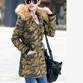 2017 Женщин Камуфляж Ватные Куртки Пальто Из Искусственного Меха Воротник Капюшоном Овечьей Шерсти Теплый Парки Военная Пальто Женские Зимние Одежды