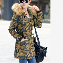 2017 Women Camouflage Quilted Jacket Coat Faux Fur Collar Hooded Lamb Wool Warm Parkas Military Overcoat Female Winter Outerwear