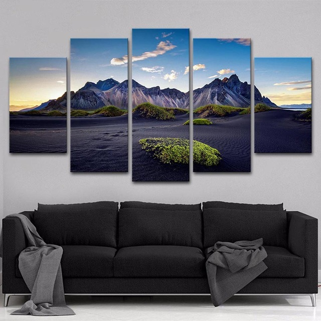 HD Printed Painting Modern Wall Art Pictures Frame 5 Panel Mountain ...