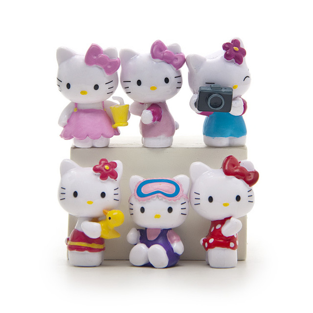 Cartoon Hello Kitty 6pcs/set Summer Day Kawaii 3.5CM Dolls Anime PVC Action Figure Children Gifts Free Shipping