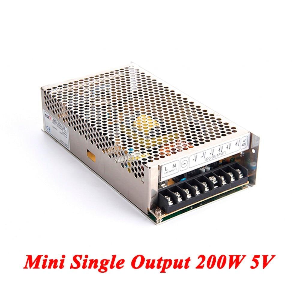MS-200-5 Mini switching power supply 200W 5v 40A,Single Output ac-dc power supply for Led Strip,AC110V/220V Transformer to DC 5V ms 120 15 120w 15v 8a single output mini size led switching power supply transformer ac to dc