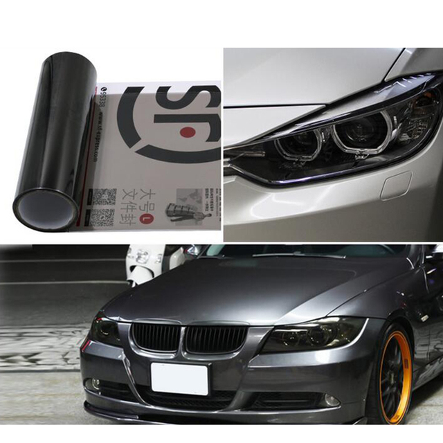 30cm X 100cm Glossy 12colors Black Dark Tint Headlight Tail Light Fog Wrap Sheet Stickers Car